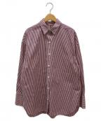 DEUXIEME CLASSE()の古着「ストライプシャツ」|ボルドー