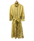 LA MARINE FRANCAISE(マリンフランセーズ)の古着「ストライプドルマンスリーブワンピース」|イエロー