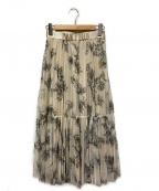 JUSGLITTY()の古着「アートフラワープリーツスカート」|アイボリー