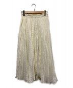 ()の古着「シアーボーダープリーツスカート」|アイボリー