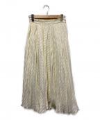 martinique(マルティニーク)の古着「シアーボーダープリーツスカート」 アイボリー