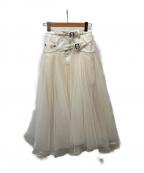 Belle vintage(ベル ビンテージ)の古着「ベルトデニムドッキングボリュームチュールスカート」 アイボリー