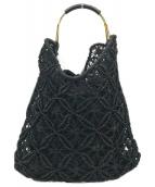 ()の古着「カゴ編みハンドバッグ」|ブラック