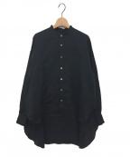 jonnlynx(ジョンリンクス)の古着「バンドカラーガーゼシャツ」 ブラック