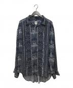 AiE(エーアイイー)の古着「総柄ギャザーシャツ」 ネイビー
