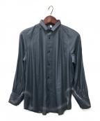 08sircus(ゼロエイトサーカス)の古着「Leather satin stand collar shi」 ブルー