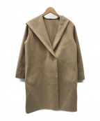 QUEENS COURT(クイーンズコート)の古着「ショール襟フーテッドボンティングコート」|ベージュ