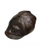 PHIGVEL(フィグベル)の古着「レザーキャスケット」|ブラウン