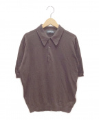 JOHN SMEDLEY(ジョンスメドレー)の古着「ニットポロシャツ」|ブラウン