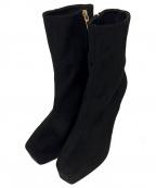 eimy istoire(エイミーイストワール)の古着「ESフェイクスエードショートブーツ」|ブラック
