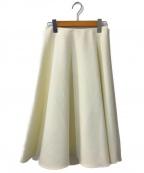 Viaggio Blu(ビアッジョブルー)の古着「ダブルクロスフレアスカート」 ホワイト