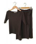()の古着「アシメレーススカートニットセット」|ブラウン