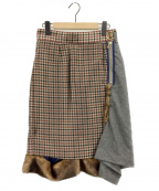 KOLOR(カラー)の古着「異素材MIXスカート」|ブラウン