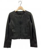 ANAYI(アナイ)の古着「ラムレザークルージャケット」 ブラック