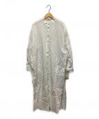 Whim Gazette(ウィムガゼット)の古着「スタンドカラーシャツワンピース」 ホワイト