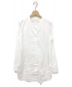 ()の古着「バンドネック&ビブフロントシャツ」|ホワイト
