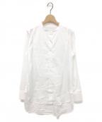 ticca(ティッカ)の古着「バンドネック&ビブフロントシャツ」 ホワイト