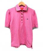 Vivienne Westwood RED LABEL(ヴィヴィアンウェストウッド レッドレーベル)の古着「オーブ刺繍ポロシャツ」|ピンク