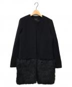 YOKO CHAN(ヨーコチャン)の古着「裾ファー切替ノーカラーコート」 ブラック