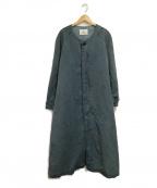 OUTIL(ウティ)の古着「ノーカラーコート」 ブルー