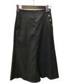 ()の古着「ドライキャンブリック フレアミディスカート」 ブラック