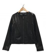 theory (セオリー) Smooth Leather Flat Crew JKT ブラック サイズ:S