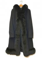 Diagram GRACE CONTINENTAL(ダイアグラム グレースコンチネンタル)の古着「フォックスファートリムフーデッドコート」 ブラック