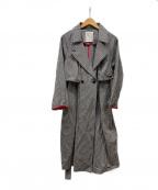 BEARDSLEY(ビアズリー)の古着「ギンガムチェックトレンチコート」 ブラック