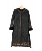 ()の古着「刺繍ムートンコート」 ブラック