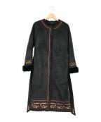 Lily Brown(リリーブラウン)の古着「刺繍ムートンコート」 ブラック