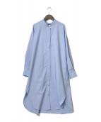 ()の古着「バックシャーリングロングシャツ」 ブルー