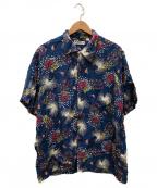 Sun Surf(サンサーフ)の古着「花火柄アロハシャツ」|ブルー