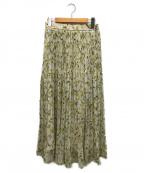 FRAY ID(フレイアイディー)の古着「21SS 楊柳シフォンプリントプリーツスカート」 グリーン