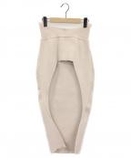 TAN(タン)の古着「オープンフロントニットスカート」 ベージュ