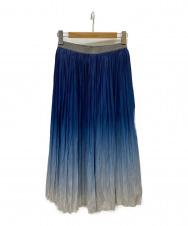 CHRISTIAN AUJARD (クリスチャン・オジャール) オンブレープリントプリーツスカート ブルー サイズ:9
