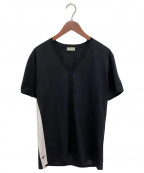 DIOR HOMME(ディオール オム)の古着「切替BEE刺繍VネックTシャツ」 ブラック