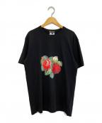 COMME des GARCONS HOMME PLUS(コムデギャルソン オムプリュス)の古着「フラワープリントTシャツ」 ブラック