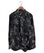 COMME des GARCONS HOMME PLUS(コムデギャルソン オムプリュス)の古着「総柄フリルシャツ」 ブラック
