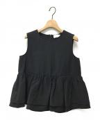 YORI(ヨリ)の古着「ダブルフリルノースリーブブラウス」|ブラック