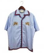 GUCCI(グッチ)の古着「タイガープリント半袖開襟シャツ」|スカイブルー