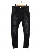 ripvanwinkle(リップヴァンウィンクル)の古着「CRASH DENIM PANTS/デニムパンツ」|インディゴ