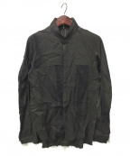 D.HYGEN(ディーハイゲン)の古着「リネン×レーヨンプリントバンドカラーシャツ」 チャコールグレー