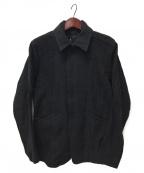 D.HYGEN(ディーハイゲン)の古着「ウール×レーヨン破れジャガードストライプジャケット」 チャコールグレー