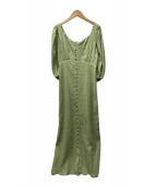 ()の古着「バックシャーリングドレス」 グリーン