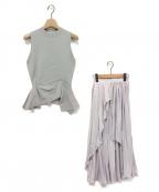 eimy istoire(エイミーイストワール)の古着「ノースリーブニットイレヘムコンビプリーツスカート」|サックスブルー