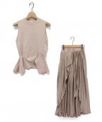 eimy istoire(エイミーイストワール)の古着「ノースリーブニットイレヘムコンビプリーツスカート」|ピンク