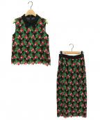 GRACE CONTINENTAL(グレースコンチネンタル)の古着「スモールフラワーノースリーブ&スカート」|ブラック