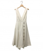 Apuweiser-riche(アプワイザーリッシェ)の古着「デザイン切り替えジャンパースカート」 ホワイト