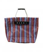 MARNI(マルニ)の古着「フラワーカフェストライプトートバッグ」|ブラウン