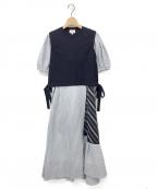 LANVIN en Bleu(ランバンオンブルー)の古着「ストライプMIXドッキングワンピース」 ネイビー
